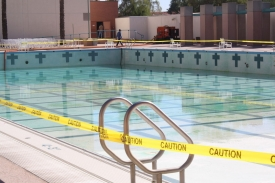 Thousands of gallons of water were drained from the Student Recreation Center pool in preparation for its resurfacing.