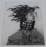 """Pitt uses a computer to create images inspired by her quadriplegia. This print, titled """"The Collar,"""" of a person wearing a 17th-century dog collar, represents the collar Pitt was forced to wear for two months after she broke her neck."""
