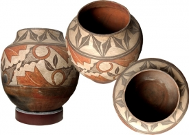 """Pots from """"The Pottery Project"""" exhibit at the Arizona State Museum."""