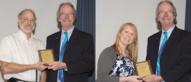 Tim Wunz (left) and Kate Johnson were presented their awards by interim dean, John E. Murphy.