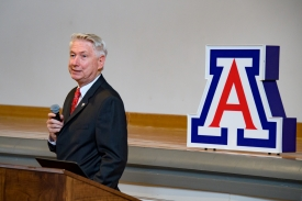 """Dr. Guy Reed addresses the audience at his first """"Dean's Hour"""" at the College of Medicine –Phoenix on Aug. 1. (Photo by Sun Czar Belous, University of Arizona)"""