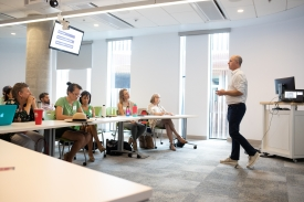 Lang also gave a talk on Sept. 5 about the ways faculty can start the semester off right. (Photo by Veronica Rodriguez/Office of Instruction and Assessment)