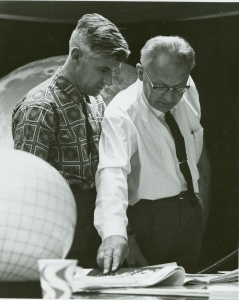 Whitaker and Kuiper at NASA's Jet Propulsion Laboratory in Pasadena, California, where they worked on the Ranger 6 mission. (Photo courtesy of the UA Lunar and Planetary Laboratory)