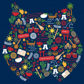 The APIDA Heritage Month cultural logo features elements of nature, traditional foods and contributions to music and education.