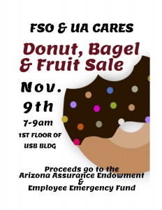 FSO will hold a sale Nov. 9, with half of the proceeds benefiting the Employee Emergency Fund.