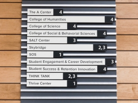 A sign in the Bartlett Academic Success Center lists the locations of services that were centralized as part of the project. (Photo by Chris Richards/University Communications)