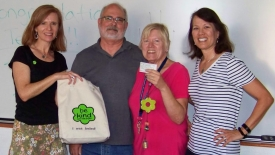 Terrie Thompson, third from left, was presented with a Ben's Bell on June 12. Also pictured, from left: Ben's Bells Director of Education Laura Gronewold; Dick Thompson, Terrie Thompson's husband; and Martha Whitaker, associate professor of practice in the Department of Hydrology and Atmospheric Sciences.