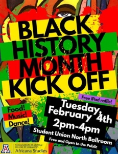 The Africana Studies Program will kick off Black History Month on Feb. 4 with food, music and dancing, and the opportunity to win prizes. The program has more Black History Month events planned in late February.