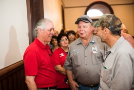 Robbins chats with Facilities Management employees during the welcome reception at Old Main. (Photo: Jacob Chinn)