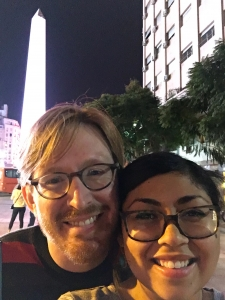 Instructor Tucker Dunn with his wife, Pilar Vergeli, on a May trip to Buenos Aires.