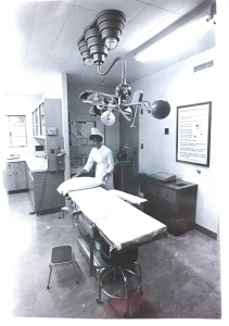 A nurse in an exam room in 1971. (Courtesy of Special Collections, University Libraries)