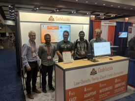 The Codelucida team hosted a booth at the Flash Memory Summit 2018 in Santa Clara, California. From left: Bane Vasic, Vamsi Yella, David Declercq, Shiva Planjery and Ben Reynwar. (Photo courtesy of Shiva Planjery)