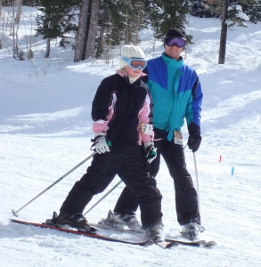Schnellmann skiing with his daughter, Mary. In his free time, he also likes to run, cycle and hike.
