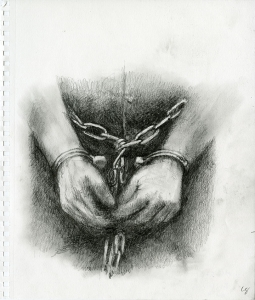 Detail of a shackled inmate from Lawrence Gipe's Operation Streamline sketches, circa 2012-14. (Courtesy of Special Collections)