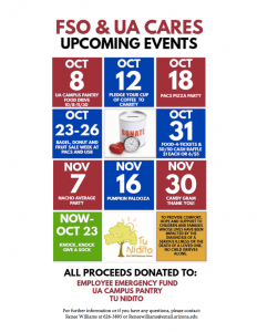 The Financial Services Office has several events planned throughout the UA Cares campaign.