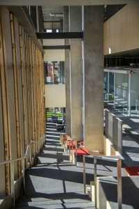Study areas are nestled along a staircase that spans the east side of the building, making it easy to find a place to work alone or with a small group, aided by plenty of natural light.