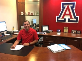 Heeke is settling into his office in McKale Memorial Center.