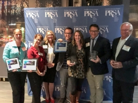 Office of University Communications staff at the 2018 PRSA Southern Arizona IMPACT Awards. From left: Stacy Pigott, assistant director of news, Pila Martinez, senior director for strategic communications, Pam Scott, associate vice president for external communications, Nick Prevenas, senior news writer and media relations assistant, Alexis Blue, senior writer and assistant director of media relations, Kyle Mittan, communications specialist, and Chris Sigurdson, vice president of communications.