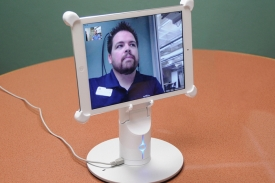 Among the tools instructors can test out in the Collaborative Faculty Room is a Kubi, which allows users to remotely control the position of an iPad from an off-site personal computer.