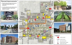 Campus gateways, or entry points, are one focus area of the Master Plan, with the goal of enhancing visitors' experience when they arrive on campus. The red arrows on the map indictae the location of major campus gateways. (Source: Planning, Design and Construction)