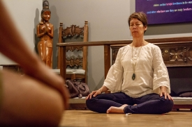 Leslie Langbert, executive director of the UA Center for Compassion Studies, explained how her guided weekly meditation sessions could be a good way to relieve stress in the Nov. 7 issue. (Photo: Kyle Mittan/University Communications)