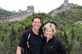 Mike and Rocky in front of the Great Wall of China.