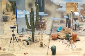"""""""Adventures in the Painted Desert: A Murder Mystery"""" by Roland Reiss, 1975-1976, mixed media, UA Museum of Art purchase with funds provided by the Edward J. Gallagher Jr. Memorial Fund. On view at the UA Museum of Art."""