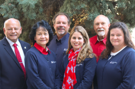 The Occupational Health team, from left: Ken Kerns, Research Laboratory Safety Services director, Rose Mary Jacob, registered nurse, Jim Metras, program manager, Dr. Heather Walsh, medical director, Dr. Harry McDermott III, part-time clinician, and Susan Marvin, program coordinator. (Photo courtesy of Susan Marvin)