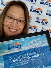Pila Martinez, senior director for strategic communications, accepted the awards given to the Office of University Communications during an online pop-up event.