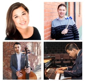 Clockwise from top left: Soprano vocalist Emily Garcia, percussionist Michael Pratt, pianist Tyler Ramos and cellist Juan Mejía. The four will perform during the President's Concert on Feb. 2 and 3.