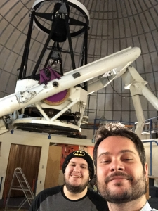 Theodore Pruyne (left) and Kacper Wierzchos in the dome enclosing the 96-inch telescope on Mount Lemmon. The telescope is one of the Catalina Sky Center's two instruments scanning the skies nightly for potentially hazardous asteroids that venture close to Earth.