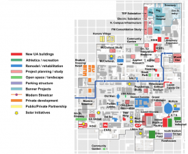 This map shows changes made to campus between 2009 and 2019, including the construction of new buildings and renovation of existing buildings. (Source: Planning, Design and Construction)