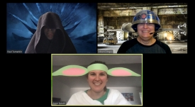 (Clockwise from top left) In this screenshot, Paul Tumarkin, Aileen Dingus and Anne Spieth appear in Star Wars costumes.