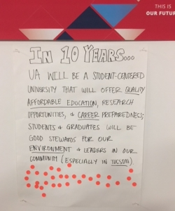 Attendees worked in groups to envision the impact the UA will have 10 years from today.