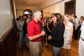 Robbins started his first day on campus by meeting members of the UA community outside his office in Old Main. (Photo: Jacob Chinn)