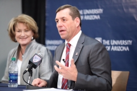 Dave Heeke speaks during a news conference with President Ann Weaver Hart. (Photo by Stan Liu/Arizona Athletics)