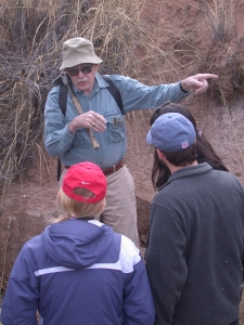 Vance Haynes with students at the Murray Springs mammoth kill site, near Sierra Vista, Arizona, in 2007. (Photo courtesy of Vance Holliday)