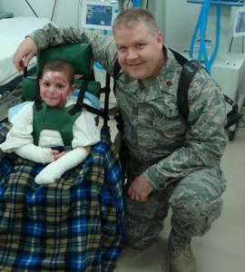 Gary Vercruysse with a patient at the Air Force Theater Hospital in Balad, Iraq. (Photo courtesy of Gary Vercruysse)