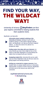Resource cards list the ways the Wayfinders advising team can help students navigate the UA's academic landscape.