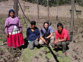 During his time in Bolivia, Zack Guido (second from right) assisted farmers in increasing rose flower production.
