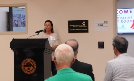 Zoe Cohen speaks at the grand opening of the Collaborative Faculty Room in 2016. Cohen says restructuring her courses to be more interactive has improved not only her students' experience but her own as a teacher. (Photo courtesy of University Libraries)