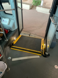 Among the upgrades on the new buses is front boarding for wheelchair users. (Photo by Florence Dei Ochoa/Parking & Transportation Services)
