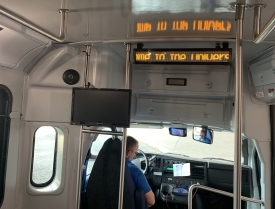 New Cat Tran buses, which began hitting the road this summer, feature monitors that display upcoming stops. (Photo by Florence Dei Ochoa/Parking & Transportation Services)