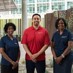 The members of the Office of Diversity and Inclusion. From left: Sonji Muhammad, Francisco Lucio and L'Tanya Miller.
