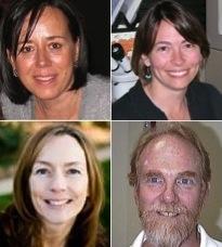 (Clockwise starting top left) Patricia Stock, Wendy Moore, Paul Baker, Dawn Gouge