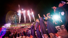 "Providing alternate text for images helps those using screen readers understand what the images depict. Alternate text should be kept short. For this image, ""Students celebrate at UA Commencement"" or ""Fireworks at UA Commencement"" would work."