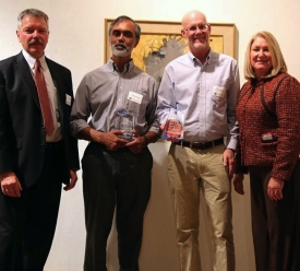 TLA Vice President David Allen pictured with Saumya Debray and Richard Snodgrass, winners of the Catapult Award for Information Technology, and President Ann Weaver Hart.