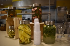 "Participants in the ""Root to Stem"" workshop learned to make infused water using strawberry tops, thyme stems and other plant-based foods that might normally be discarded."