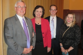 Kern (left) was named a CPR Giant by the International Liaison Committee on Resuscitation. He was joined at the 2015 Honorees Dinner in Dallas by family members, including his wife, Martha; son, David; and daughter-in-law, Jessica.