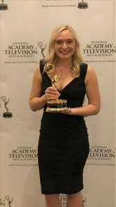 Mari Cleven with her Emmy Award.